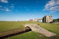 View of Swilken Burn Bridge on fairway of 18th hole at Old Course in St Andrews in Fife , Scotland, United Kingdom.