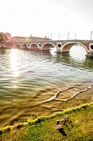 Resting near Pont Neuf in the riverside of the Garonne river, Toulouse (Haute-Garonne Department, Midi-Pyrénées Region, France).