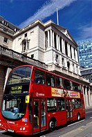 The Bank of England on a sunny day in the heart of the City of London financial district.