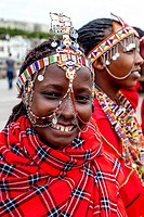 A Group Of African Women Dressed In Traditional Costume On Hastings Pier During The Annual Pirate Day Festival, Hastings, Sussex, UK.