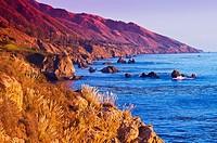 Evening light on the Big Sur coast, Julia Pfeiffer Burns State Park, California USA.
