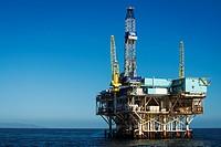 Off-shore oil platform, Santa Barbara Channel, Ventura, California USA.