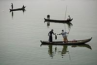 Fishermen at the Taungthaman Lake, Amarapura, Myanmar.
