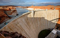 Glen Canyon Dam is a concrete arch dam on the Colorado River in northern Arizona, USA.