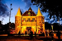 The Waag at night, Amsterdam, the Netherlands.