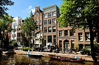 Traditional architecture of the Prinsengracht in Amsterdam, the Netherlands, Europe.