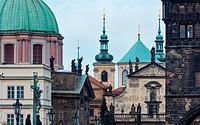 Charles Bridge, Church of St. Francis of Assisi, Klementinum, Church of St. Salvatore, Prague, Czech Republic, Europe.