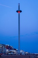 Brighton Beach and The British Airways i360 Observation Tower, Brighton, Sussex, UK.