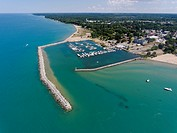 Aerial view of Small town man made harbor on Lake Huron at Lexington Michigan on Lake Huron.
