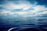 French coastline seen from ship´s deck, Mediterranean Sea