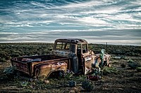 Rusting, wrecked truck in the Karoo. Northern Cape Province, South Africa