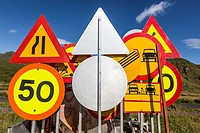 Traffic signs, South Coast, Iceland.