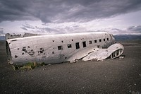 Wreckage of a U.S. Navy aircraft on the black sandy beaches near Vik in Southern Iceland.It crash landed nearby in 1973 on Solheimasandur beach. Lucki...