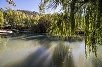 Recreation area on the River Jucar, beautiful mountain views limestone next to the city, take in Alcala of the Jucar, Albacete province, Spain.