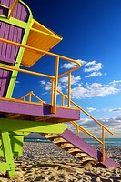 Colorful Lifeguard Stands in Miami's South Beach.