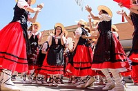 Girls dancing in traditional costume of shepherdesses at the celebrations of Almussafes, , Valencia, Spain, Europe