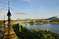 Myanmar, Kayin (Karen) State, Hpa-An, On top of Kyauk Kalap pagoda.