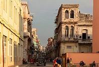 A typical street scene in Central Havana, Cuba.