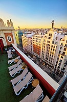 Emperador Hotel rooftop, located at Lope de Vega building in Gran Via street. Madrid. Spain.