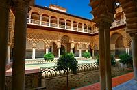 Patio de las Doncellas (Courtyard of the Maidens) an Italian Renaissance courtyard (1540-72) with Arabesque Mudéjar style plaster work, Alcazar of Sev...