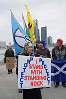Standing Rock march and demonstration starts with a smudging ceremony and speeches at Dieppe Park by the waterfront. A march to RBC branch on Ouellett...