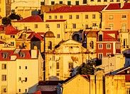 Portugal, Lisbon, View towards the Sao Cristovao and Sao Lourenco Church.