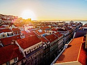 Portugal, Lisbon, Miradouro de Santa Justa, View over downtown and Aurea Street towards the Tagus River at sunrise.
