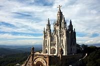 The front entrance of Temple Expiatori del Sagrat Cor, Barcelona, Spain. Temple of the Sacred Heart. Church of the Sacred Heart of Jesus on summit of ...