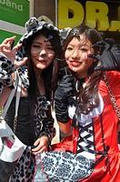 Chatan, Okinawa, Japan: Japanese girls at the American Village of Miyama during Halloween