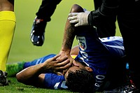 Second Division League Round 16 CD Lugo vs Tenerife, a player of Club Deportivo Tenerife, She complains on the ground after suffering a fault during t...