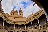 Casa de las Conchas and La Clerecía Bell Towers, Urban Palace, National Monument, Gothic Plateresque Style, 15th-16th century, Salamanca, UNESCO World...