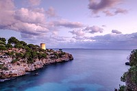 tower of Cala Pi, sixteenth century, used to defend the entrance to the bay, cala Pi, Mallorca, balearic islands, spain, europe.