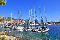 Fleet of chartered sailing boats moored in Hvar Town, Croatia, Dalmatia, Dalmatian Coast, Europe.