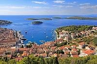 Harbour and the Pakleni Islands from the Spanish Fortress, Hvar Town, Croatia, Dalmatia, Dalmatian Coast, Europe.