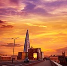 London The Shard building at sunset in England.