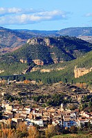 View of the village Casas Altas in the Ademuz region. Valencia.