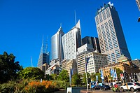 morning traffic and high rise buildings along Macquarie Street, Sydney.