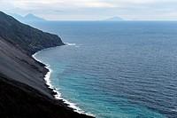 Northeast hillside of the Stromboli Island, Aeolian Islands, Province of Messina, Sicily, Italy, Europe.