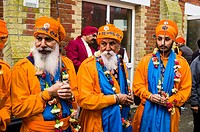 Members of the Honour Guard waiting for the start of the Vaisakhi celebrations in Southampton (UK).