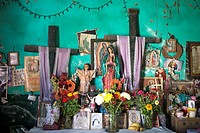An altar displayed in the Mayan village of Pomuch, Hecelchakan, Campeche, Yucatán península, October 30, 2016, as part of Day of the Dead celebrations...