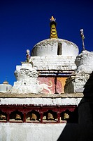India, Jammu and Kashmir State, Himalaya, Ladakh, Indus valley, stupa (chorten) in the Buddhist monastery of Lamayuru (Yungdrung)
