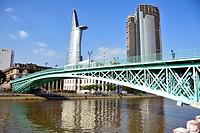 Rainbow Bridge and Bitexco Financial Tower, Ho Chi Minh City, Vietnam.