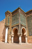 Bab Mansour gate, named after the architect, El-Mansour, completed in 1732. The design of the gate plays with Almohad patterns. It has zellij mosaics ...