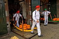 Käseträger tragen Käseräder auf einer Holzbahre von der Waage auf den Markt, Käsemarkt von Alkmaar, Niederlande / Guild cheese porters carry cheese tr...