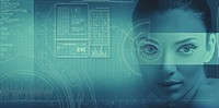Abstract science and technology background with human face and graphs.