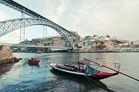 Rabelo boat near Porto´s Dom Luis bridge