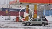 Cars on petrol filling station