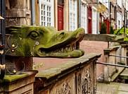 Poland, Pomeranian Voivodeship, Gdansk, Old Town, Gargoyle on Mariacka Street.