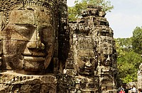 Face towers of the Bayon temple, In the center of Angkor Thom , Siem Reap, Cambodia. UNESCO World Heritage Site. Capital city of the Khmer empire buil...