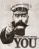 "The British wartime recruitment poster depicting Lord Kitchener with the words """"Your Country Needs You"""" and the date 1915. From The Story of 25 Even..."
